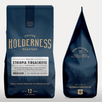 Coffee bean bag featuring the Holderness logo and branding
