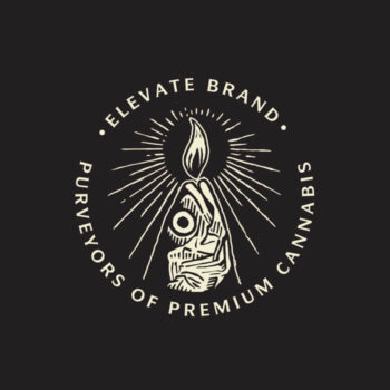 Illustrated logo mark for Elevate brand featured as tee shirt graphic and on printed materials