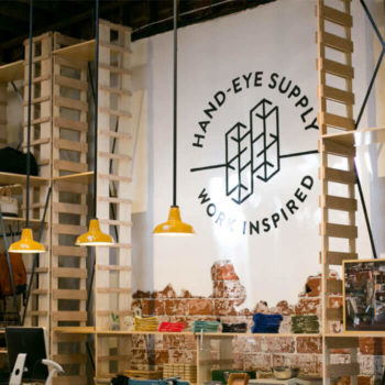 Handeyesupply flagship retail interior with hand painted logo sign