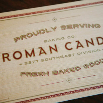 Retail display printed wood Roman Candle sign